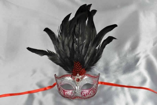 red feather mask - Ciuffo Silver