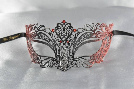 Red and black metal lace mask - Frac