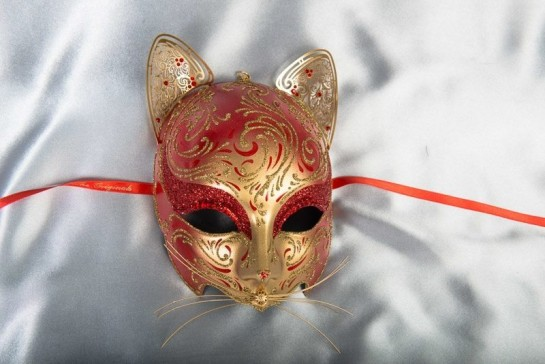 Red Gatto Fu Gold - Luxury Egyptian Cat Mask with Swarovski Crystals