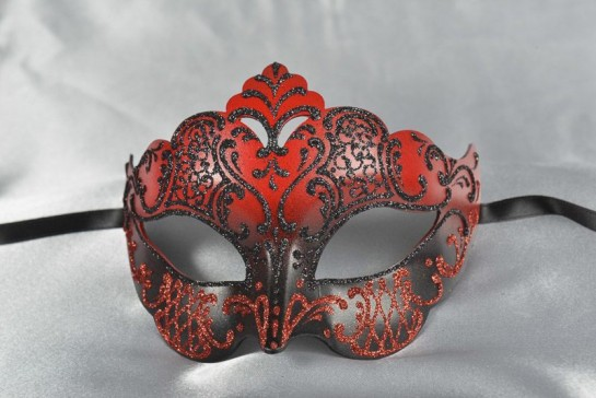red and black Giglio Venetian mask