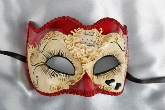 Masquerade Joker Mask with hearts in red