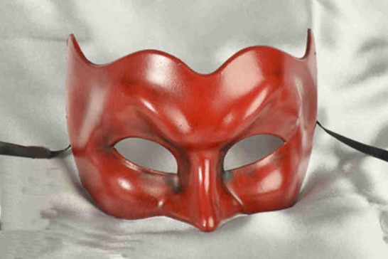 Joker face masquerade mask in one solid colour - red