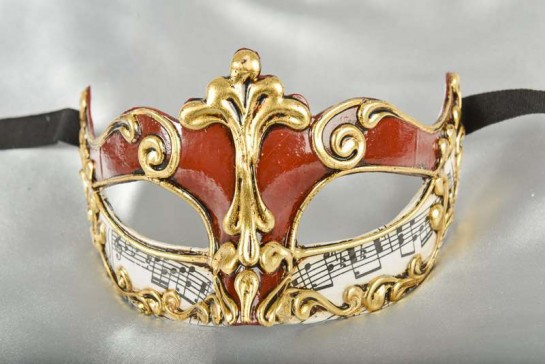 red and gold Luxury Venetian mask for women - Madam Music