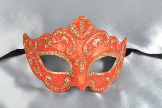 Red paper mache mask for women