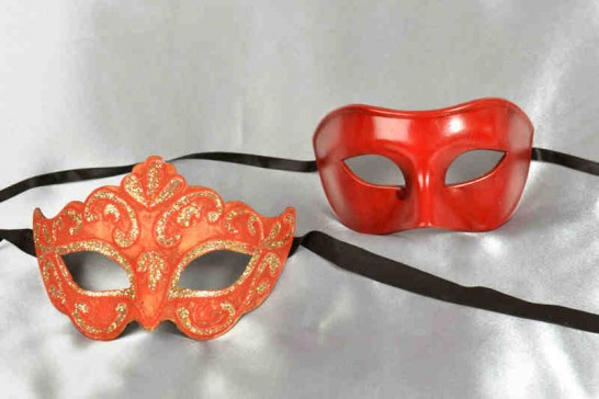 red masquerade masks for couples Colombina and Princess