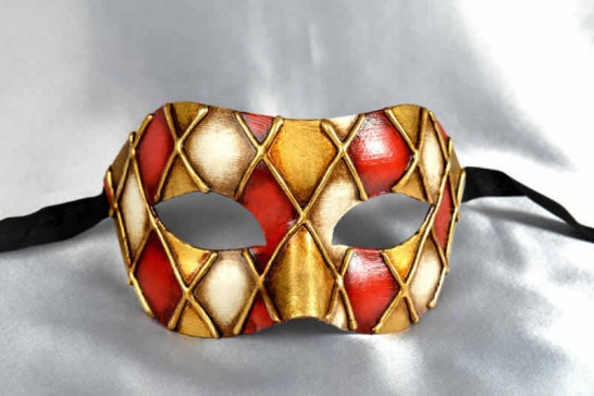 red gold masquerade mask for man