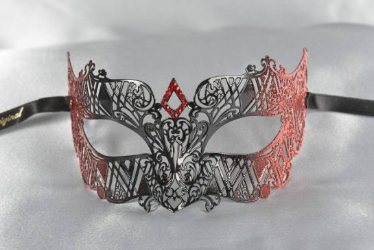 masquerade ball mask laser cut lace in red
