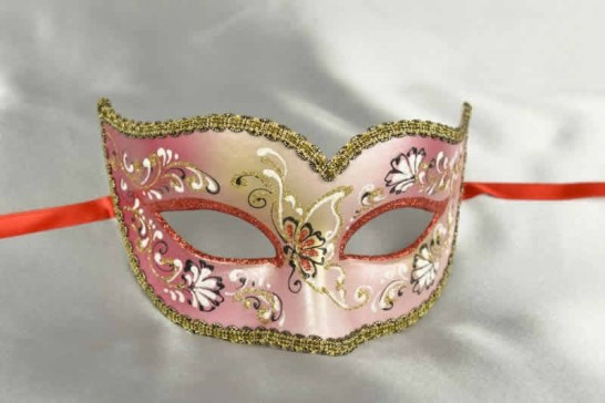 Red Semplice Fiore - Womens Gold Trim Sweetheart Mask