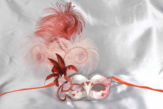 Red and pink feathered mask