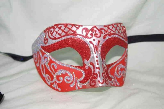 Unisex Colombina mask with glitter and silver trim in red