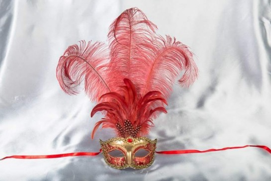 Luxury tall feather masquerade mask in red and gold