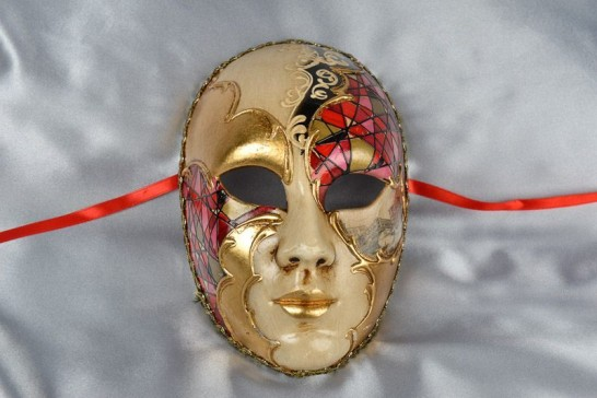 red full face mask with scenes of Venice