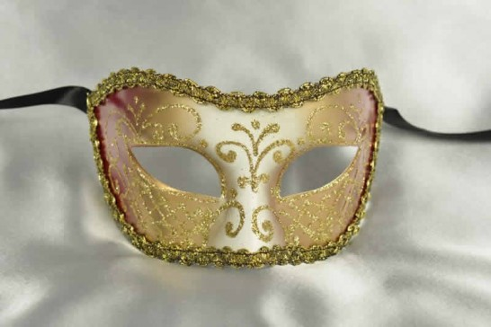 Red and Gold Masquerade Masks for Men or Women - Colombina Jesolo