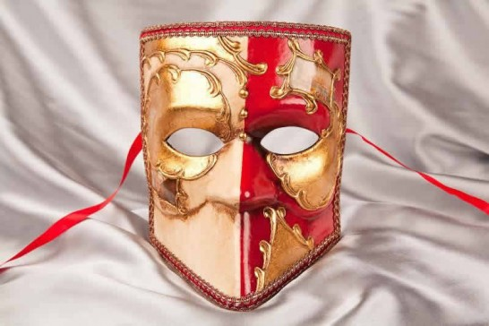 Red and Gold Bauta Masked Theatre Masks with Venice Scenes