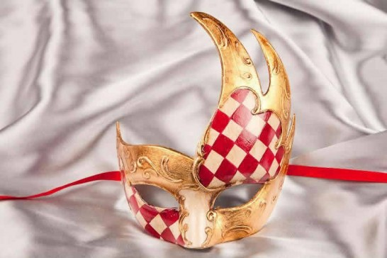 red diamond pattern ball mask