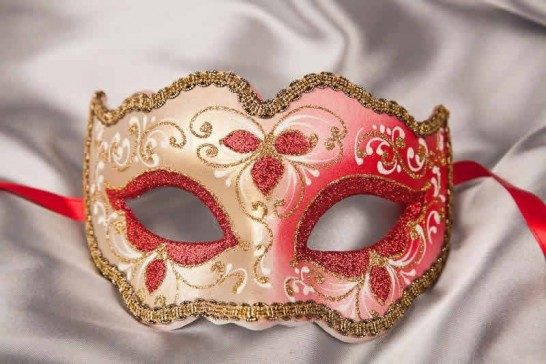 red gold carnival mask - Iris