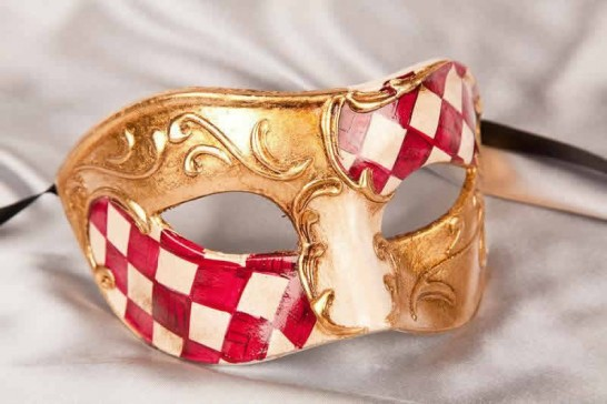 Red and gold Checkered Diamond Detail Masquerade Masks