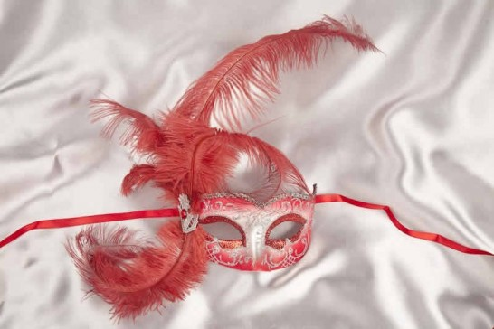 Red and Silver Side Feather Mask
