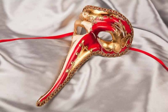 Red Scaramouche Double - Venetian Character Long Nose Mask