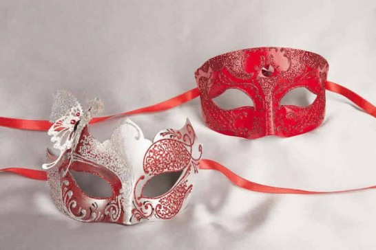 Pair of Red silver masquerade masks with butterfly | Tomboy Teresa