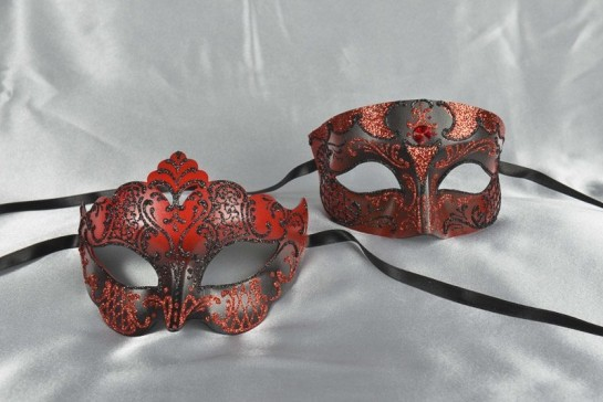 Red and black matching paper mache Venetian masks - Tomboy Giglio