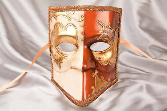 Brown and Gold Bauta Masked Theatre Masks with Venice Scenes