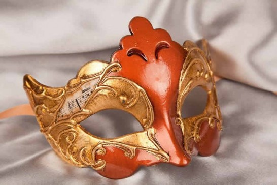 rust and gold carnival mask