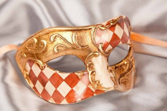 Brown and gold Checkered Diamond Detail Masquerade Masks