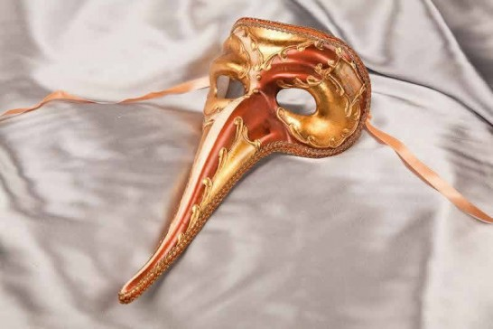 brownScaramouche Double - Venetian Character Long Nose Mask