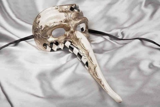 Long nose mask for men Scaramouche Scacchi Silver