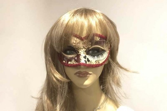 Love hearts masquerade mask on female face