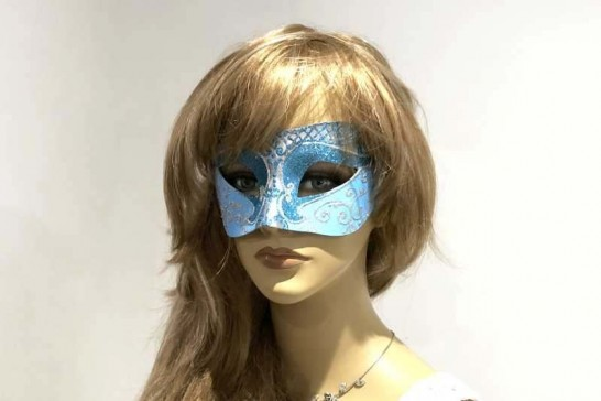 Unisex Colombina mask with glitter and silver trim on female face