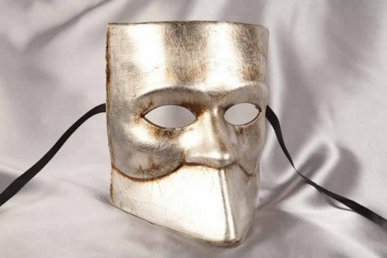 One colour Venetian Bauta Mask in silver