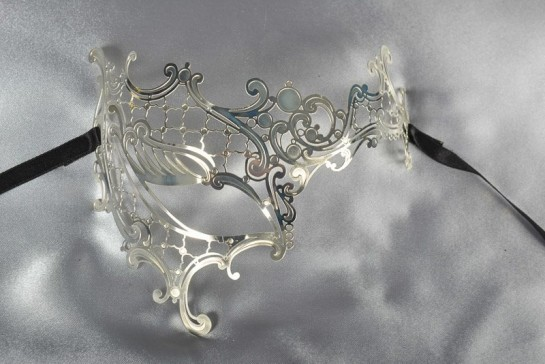 silver filigree metal lace mask for ladies