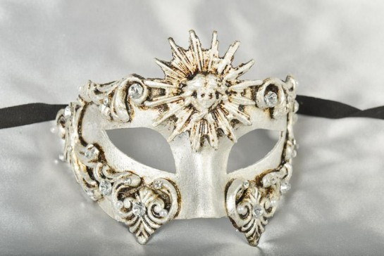 Venetian masquerade ball mask Barroco Sole in Silver