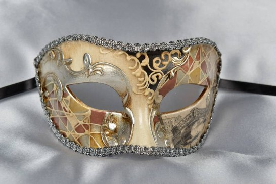 Half Face Colombina with Silver Leaf and Scenes of Venice