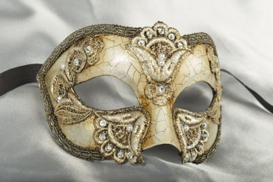 Luxury Venetian Masquerade Ball Mask for Men - Colombina Macrame Craquele