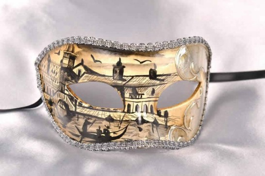 Silver masks with Venetian scenes