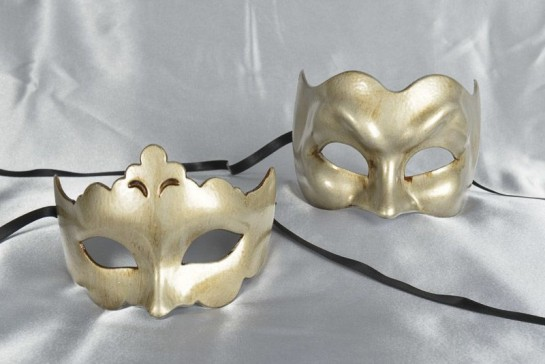 Budget masquerade masks in silver - Joker and Giglio