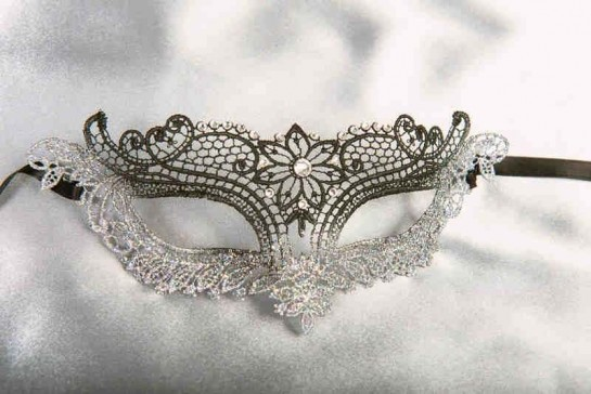 black and silver lace masquerade mask