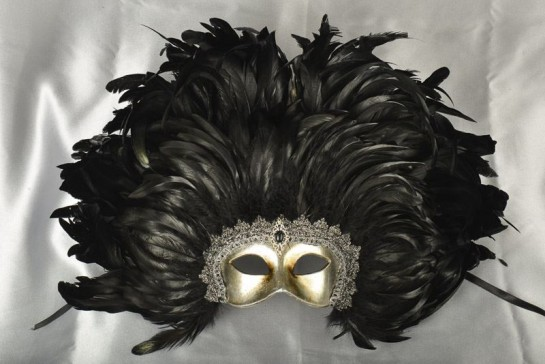 Moulin Rouge feather Mardi Gras mask in black and silver