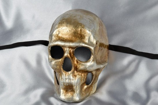 Silver skull mask named Teschio - side view