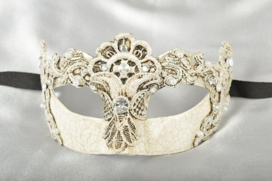 silver macrame lace covered Venetian masquerade mask