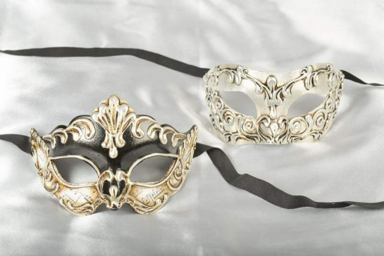 black and silver couples masks with stucchi detail