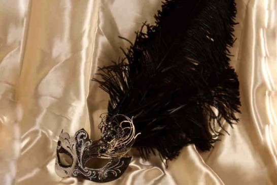 black and silver Custom Venetian mask with fretwork and feathers