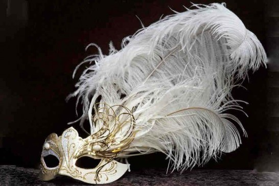 white and gold custom Venetian masks with filigree detail and tall feathers