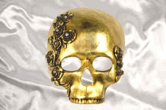 Gold Teschio Rose - Luxury Halloween Skull Mask with Flower Detail