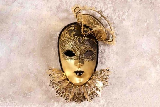 Black Tricornino Gold - Luxury Venetian Wall Mask with Top Hat and Neck Ruffles