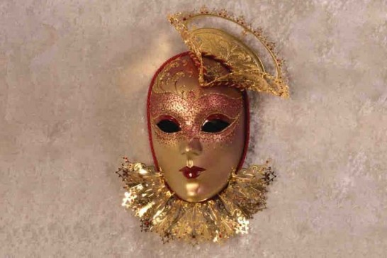 Red Tricornino Gold - Luxury Venetian Wall Mask with Top Hat and Neck Ruffles
