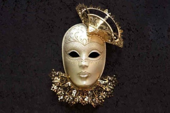 White Tricornino Gold - Luxury Venetian Wall Mask with Top Hat and Neck Ruffles